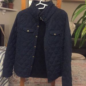 Thread and supply quilted navy coat